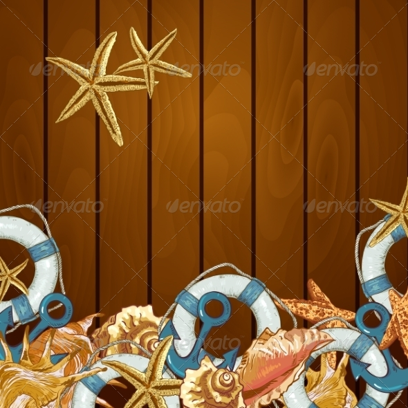 GraphicRiver Summer Card with Sea Shells Anchor Lifeline 8101665