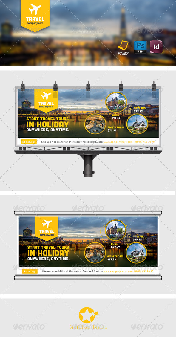 Travel Tours Billboard Templates - Signage Print Templates
