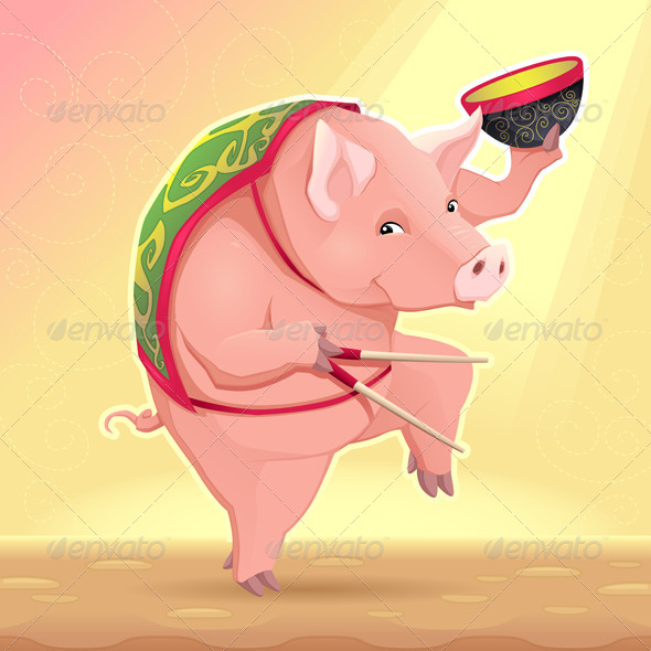 Pig with Soup Bowl