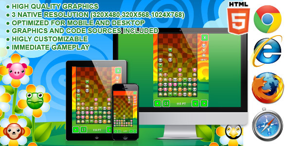 Pet Party Columns - HTML5 Game - CodeCanyon Item for Sale
