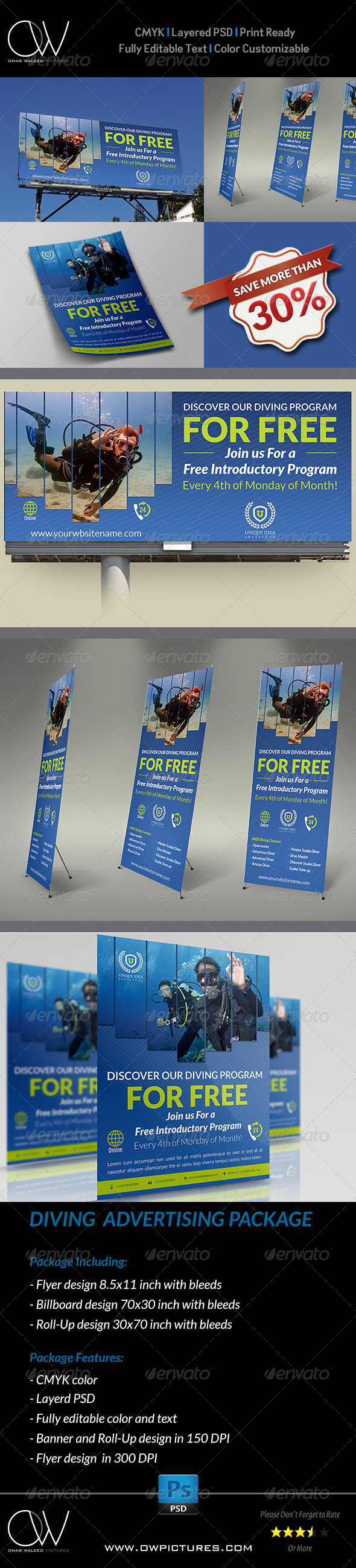 GraphicRiver Diving Advertising Bundle 8102258