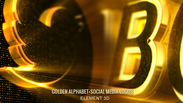 Alphabet 3D Gold-Abc & Social Media Icons