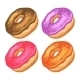 Donuts with Icing on a White Background - GraphicRiver Item for Sale