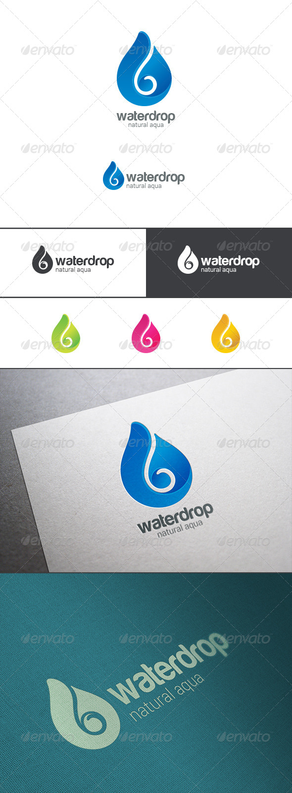 GraphicRiver Waterdrop Logo Mineral Water Droplet 8102724