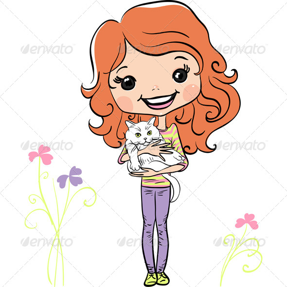 GraphicRiver Vector Hipster Fashion Cute Girl with Kitten 8102873