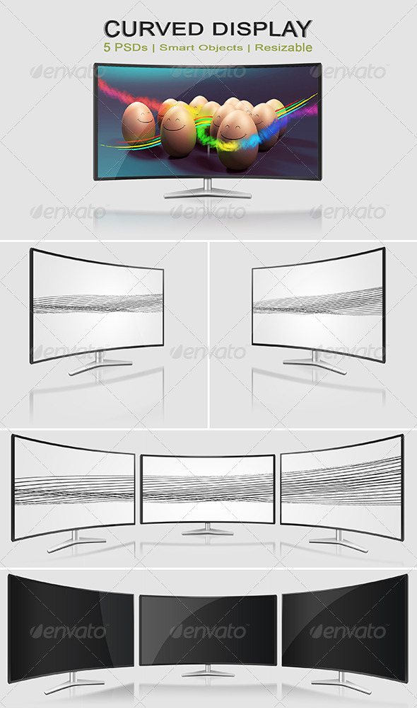 GraphicRiver Curved Monitor Mock-Ups 8102311