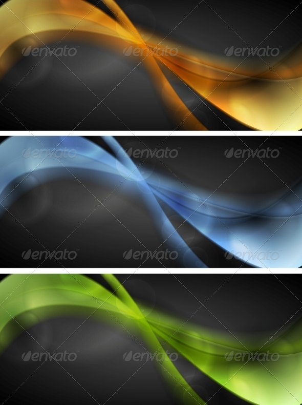 GraphicRiver Bright Glowing Wavy Banners 8102888
