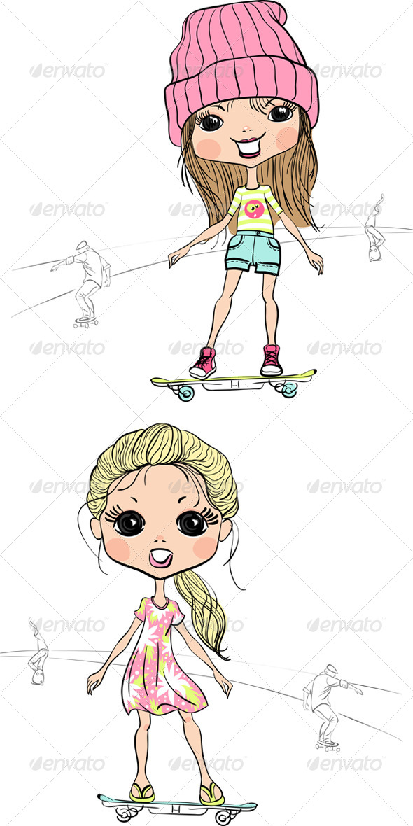 GraphicRiver Girls on a Skateboard 8102909