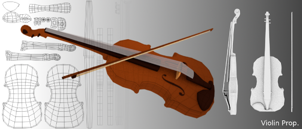 3DOcean Low Poly Violin Mesh 8102956