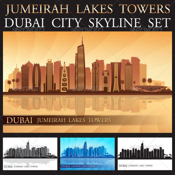 GraphicRiver Dubai Jumeirah Lakes Towers Skyline Silhouette Set 8103314