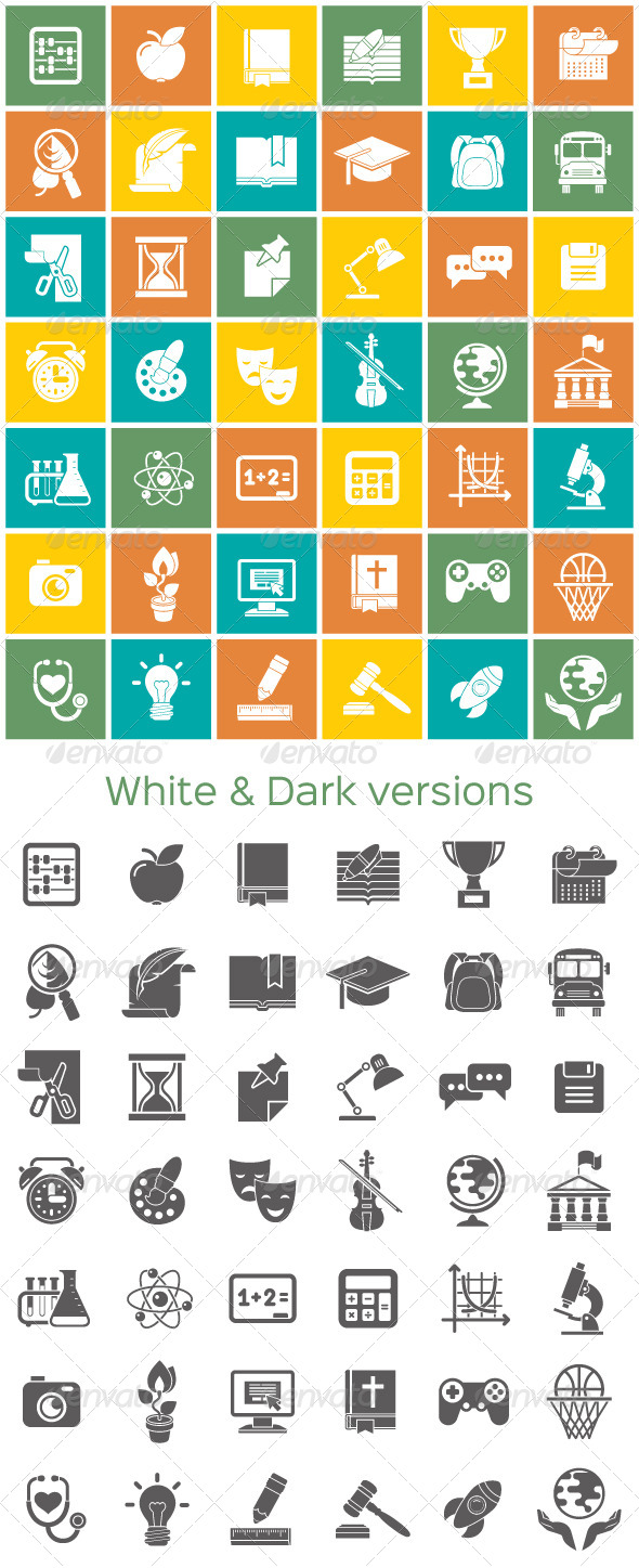 School Subjects White and Dark Icons