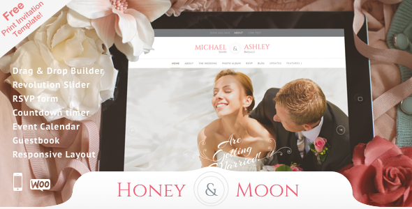 Honeymoon is a lovely, responsive wedding theme. It is perfect for your wedding event. It comes with RSVP Form, Countdown and Guestbook