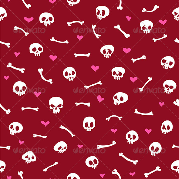 GraphicRiver Cartoon Skulls with Hearts on Red Background 8103300