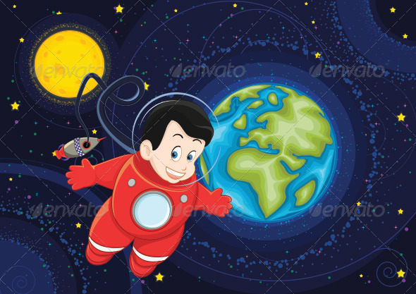 GraphicRiver Astronaut and Space Vector Illustration 8103485