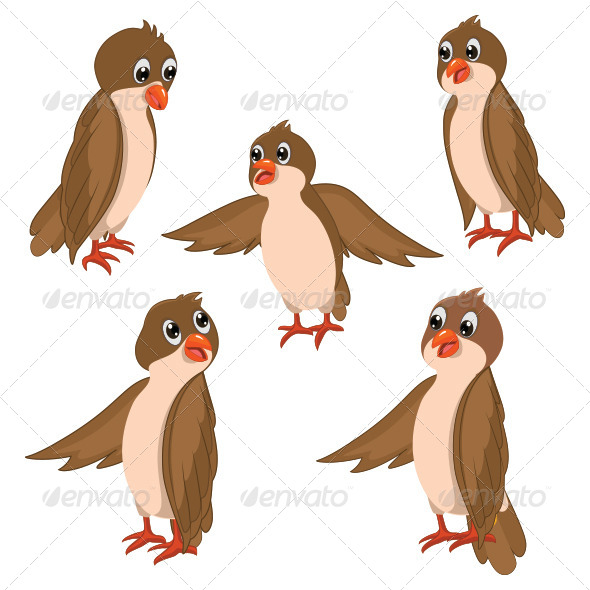 GraphicRiver Brown Birds Illustration 8103533