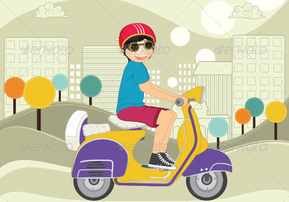GraphicRiver Kid Riding Motor Scooter 8103635