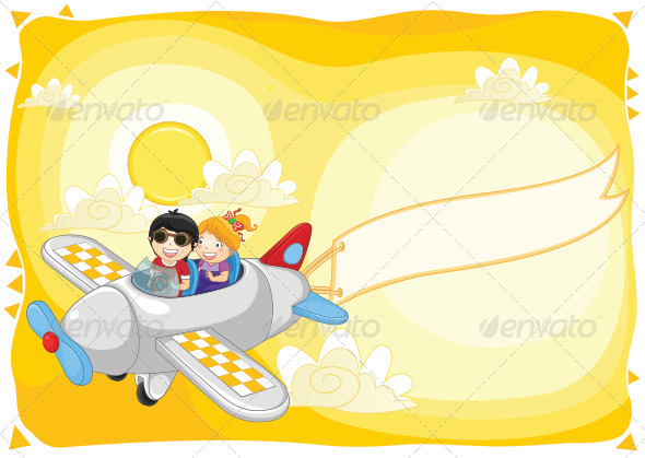 GraphicRiver Kids Flying By Plane 8103708
