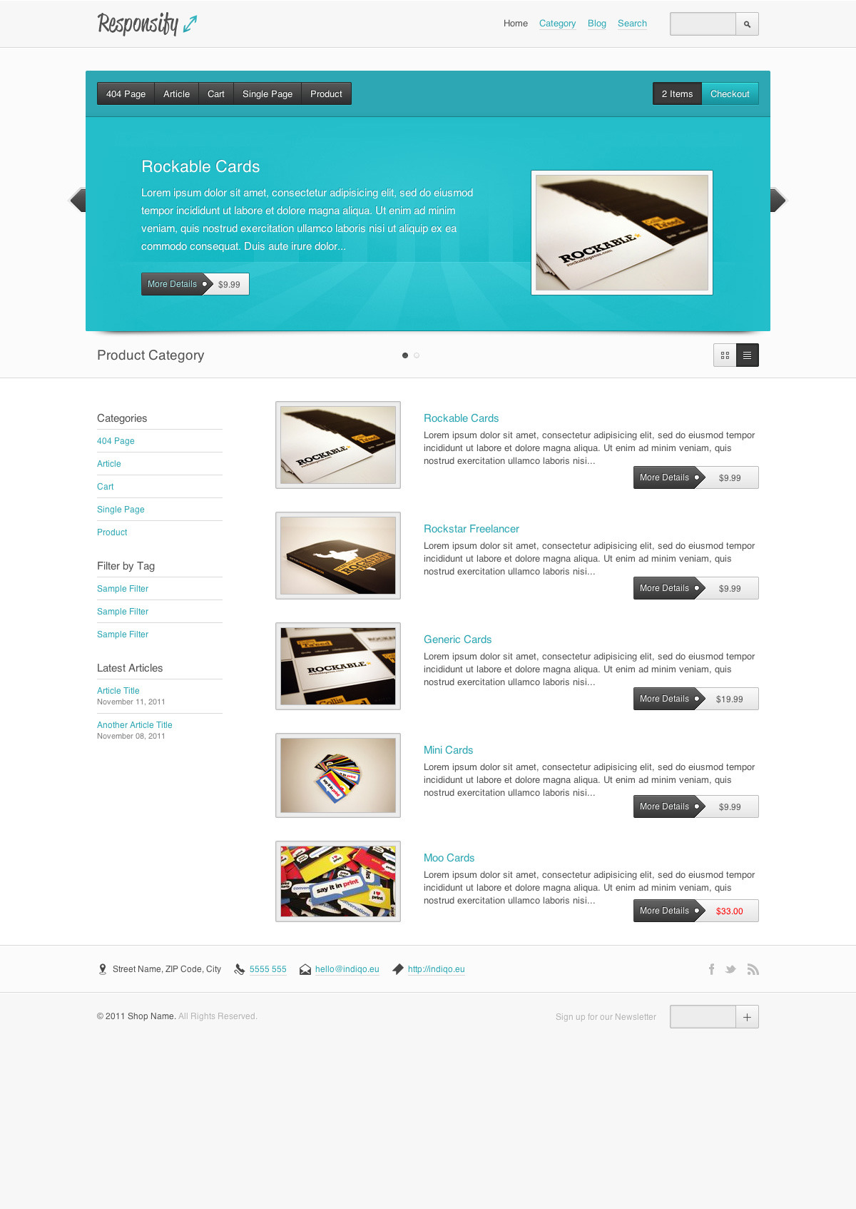 Responsify - A Responsive E-Commerce Template - The homepage as it would appear in a normal desktop browser and using the regular header style option. A quick switch between list and grid view will be possible as well.