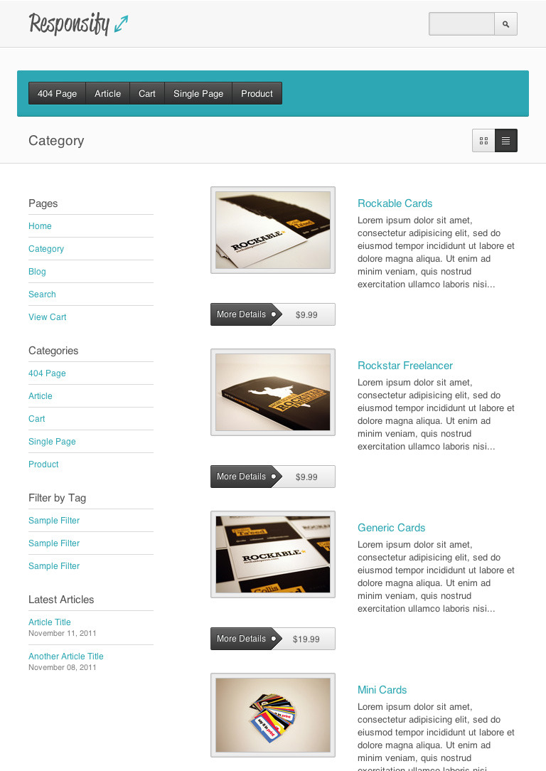 Responsify - A Responsive E-Commerce Template - A product collection as it would appear on a tablet and using the inverted header style option. Even though less space will be available in this case, all of the contents and features such as the view switch still remain available and functional.