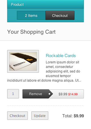 Responsify - A Responsive E-Commerce Template - The shopping cart as it would appear on a smartphone. Even though there's not much space, all contents have been well laid out and it remains easy to use which is important to turn your mobile visitors into paying customers efficiently.