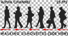 Walking silhouettes (side view)