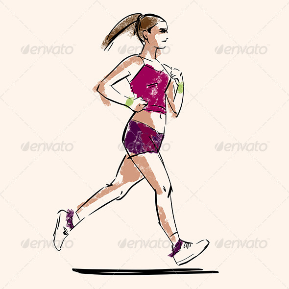 GraphicRiver Running Woman Sketch 8104860