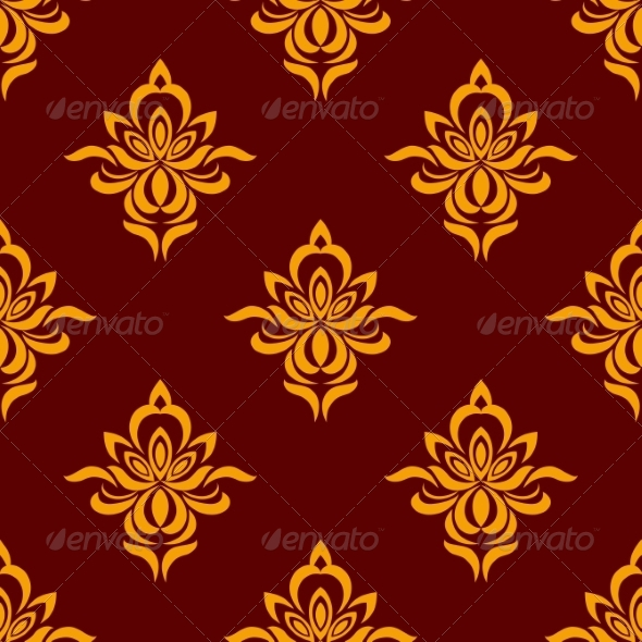 GraphicRiver Maroon and Orange Seamless Floral Pattern 8104911
