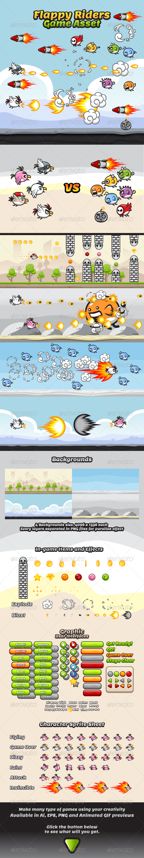 GraphicRiver Game Asset Flappy Rider Sprite Sheets 8105070