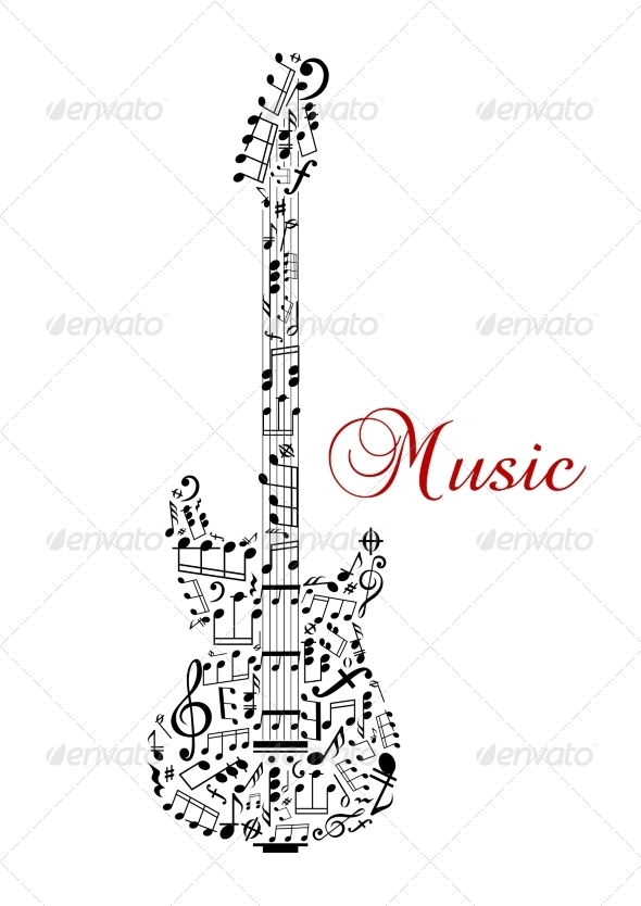 GraphicRiver Guitar Made of Musical Notes 8105080