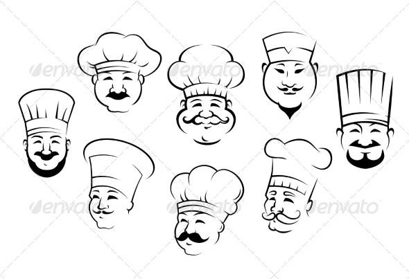 GraphicRiver Set of Chefs Heads 8105100