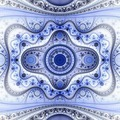 Symmetrical blue fractal flower, circle digital artwork - PhotoDune Item for Sale