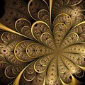 Symmetrical gold fractal flower, digital artwork - PhotoDune Item for Sale