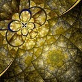 Colorful fractal flower pattern, yellow digital artwork - PhotoDune Item for Sale