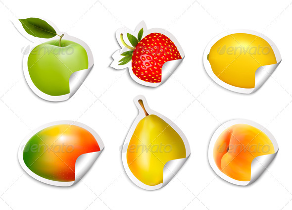 GraphicRiver Set of Fruit Stickers 8105162