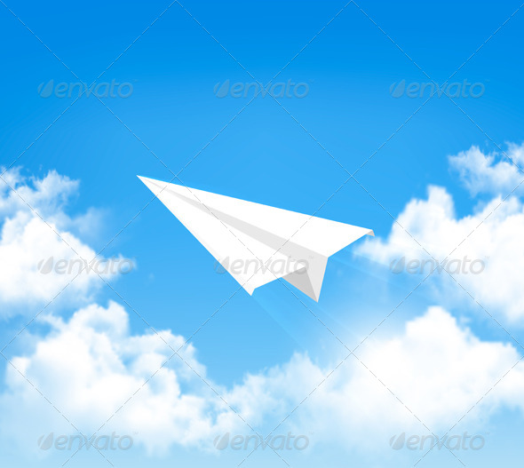 GraphicRiver Paper Airplane in Sky with Clouds 8105192