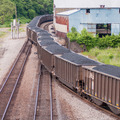 slow moving Coal wagons on railway tracks - PhotoDune Item for Sale