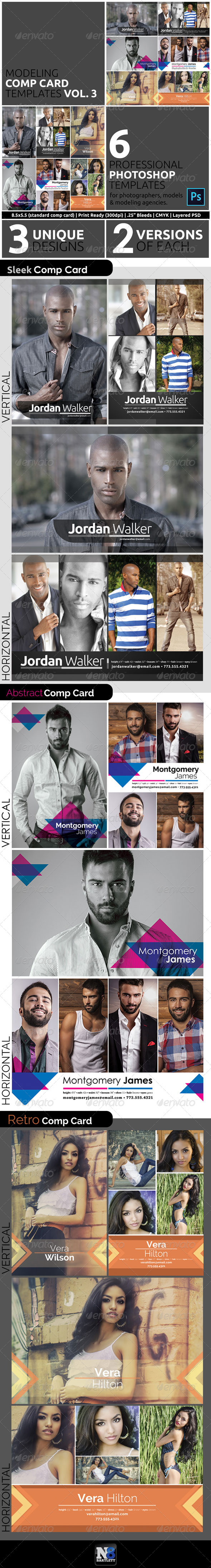 GraphicRiver Model Comp Card Template Kit Vol 3 8105328