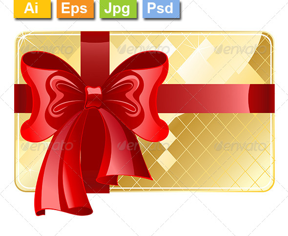 GraphicRiver Gold Card with a Red Ribbon 8105737