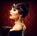 Retro Woman Portrait. Vintage Styled Girl With Cigar - PhotoDune Item for Sale