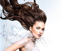 Model girl with water splash collar and long blowing hair - PhotoDune Item for Sale