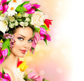 Spring woman. Beauty model girl with colorful flowers hairstyle - PhotoDune Item for Sale