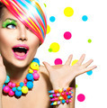 Beauty Portrait with Colorful Makeup Manicure and Hairstyle - PhotoDune Item for Sale