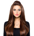Beauty Girl Looking at Camera. Long and Shiny Brown Hair - PhotoDune Item for Sale