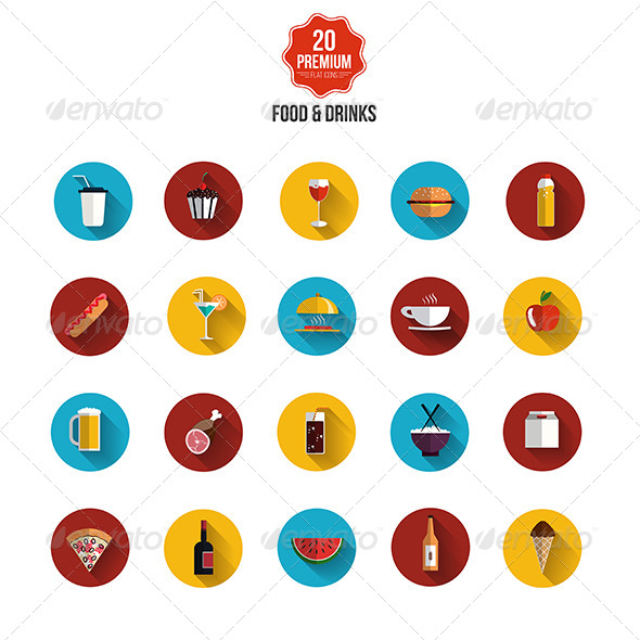 GraphicRiver Food and Drinks Icons 8106884