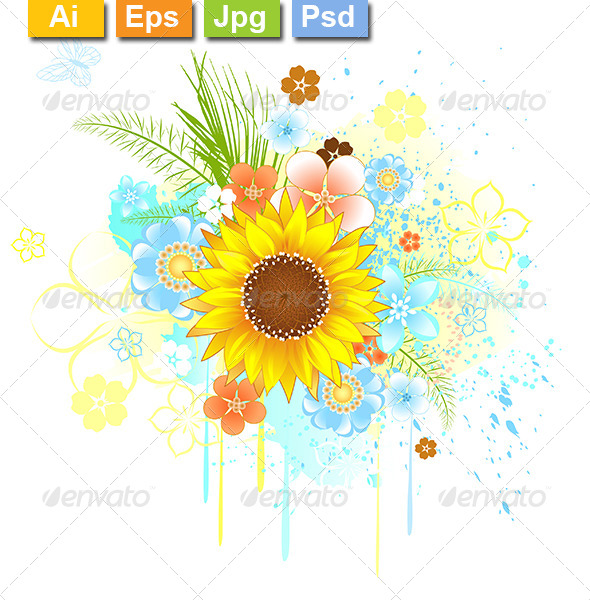 GraphicRiver Summer Sunflower 8107008