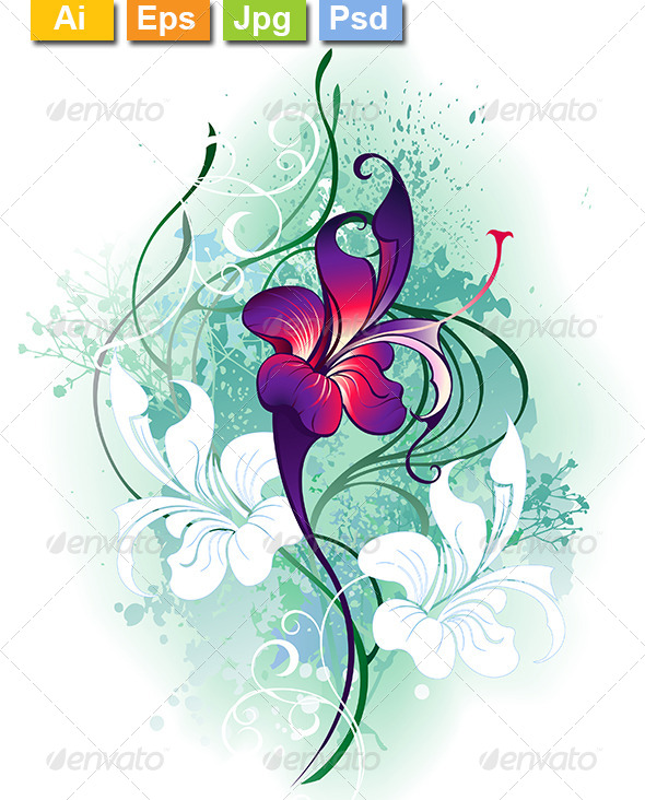 GraphicRiver Purple Flower 8107146