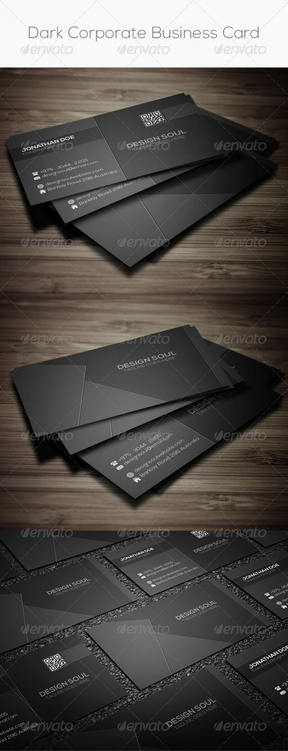 GraphicRiver Dark Corporate Business Card 8107844