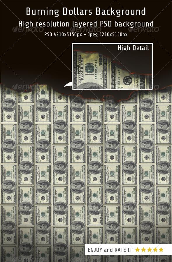 GraphicRiver Burning Dollars Background 8108074