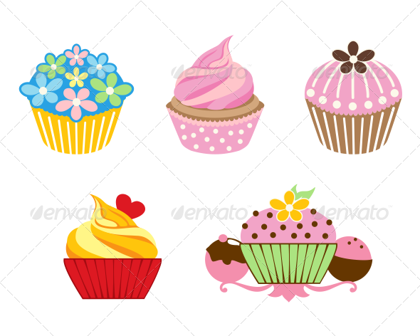 GraphicRiver 5 Cupcake Designs 8105105