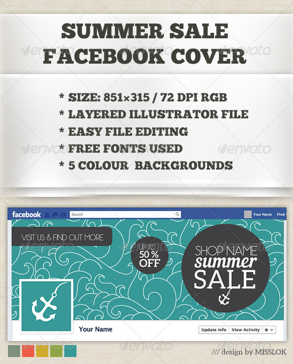 GraphicRiver Summer Sale Facebook Cover 8109347